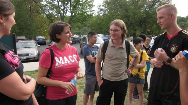 Elisa talks with several German students at the intercollegiate International Picnic