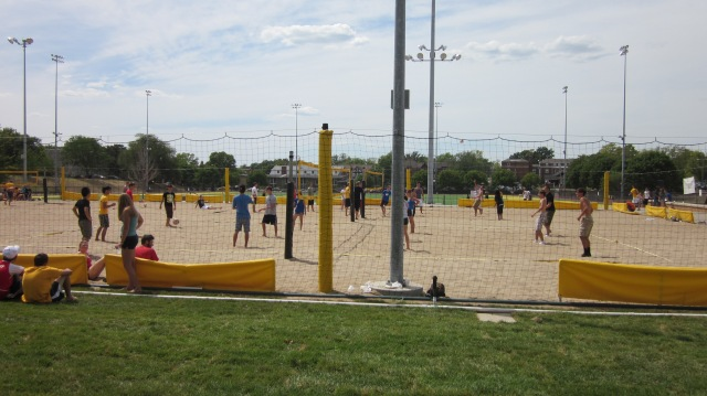 Several teams participate in the volleyball tournament at the Chi Alpha BBQ